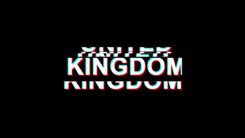 UNITED KINGDOM Glitch Effect Text Digital TV Distortion 4K Loop Animation Live Action