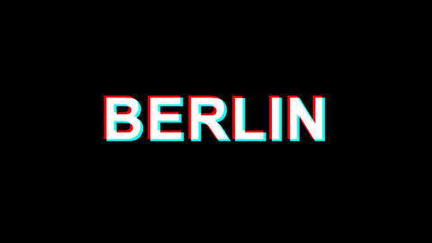 BERLIN Glitch Effect Text Digital TV Distortion 4K Loop Animation Footage