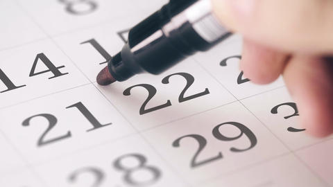 Marked the twenty-second 22 day of a month in the calendar transforms into DUE Footage