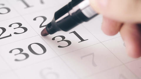Marked the thirty-first 31 day of a month in the calendar transforms into DUE Footage