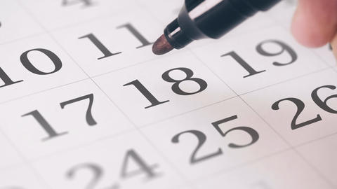 Marked the eighteenth 18 day of a month in the calendar... Stock Video Footage