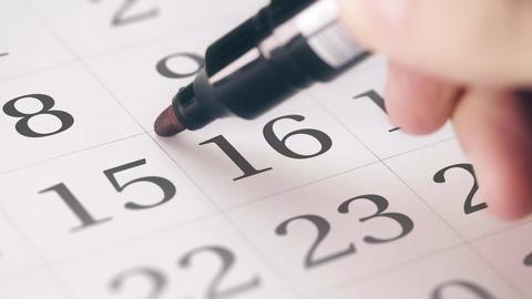 Marked the sixteenth 16 day of a month in the calendar transforms into DUE DATE Live Action