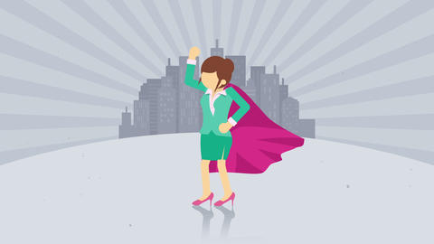 Superhero standing on city background. Dust dance. Business woman symbol. Leadership and Achievement Animation
