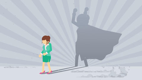 Businessman standing with superhero shadow. Business woman symbol. Winner and Challenge concept. Animation