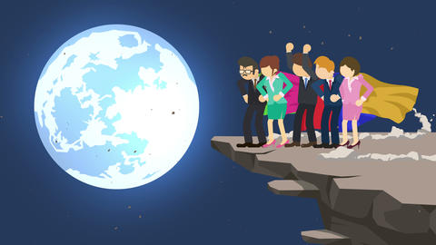 Superhero business team standing on cliff ready for challenge. Business team symbol. Teamwork and Animation