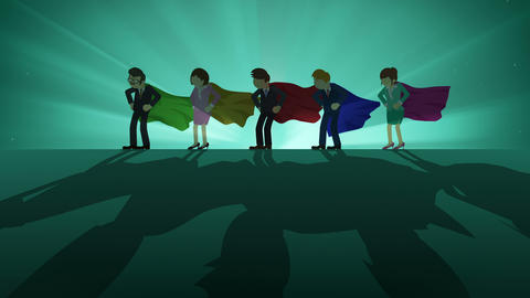 Superheroes standing in spotlight. Business team winner symbol. Teamwork and Success concept. Comic Animation
