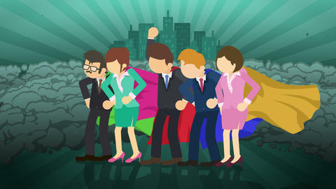 Superheroes standing on city background. Near a cloud of dust. Business team symbol. Teamwork and CG動画