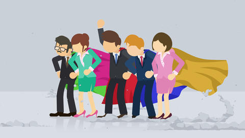Superheroes standing near a cloud of dust. Business team symbol. Teamwork and Challenge concept. Animation