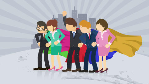 Superheroes standing on city background. Dust dance. Business team symbol. Teamwork and Leadership Animation