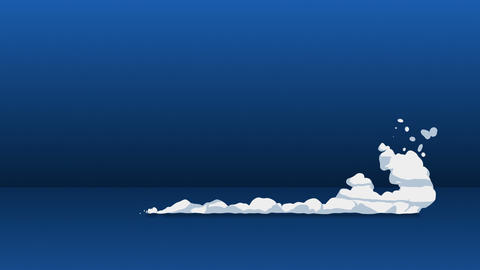 Smoke animation from fast movement. Animation element for game. Cartoon steam clouds. Loop blue Animation