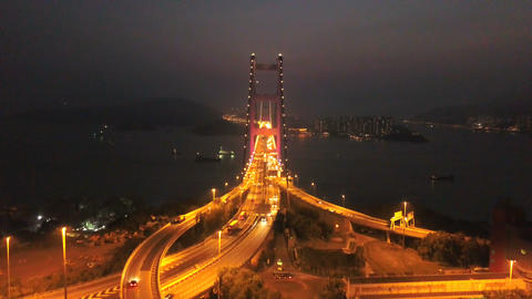 Aerial view of Tsing Ma Bridge. Highways in Hong kong with structure of suspension architecture in Footage