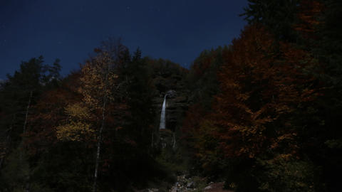 Timelapse - Waterfall in the forest with clear sky and a moonlight Live Action