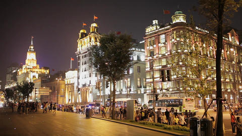 SHANGHAI China - SEP 10:The Bund at night in Shanghai. Night view along The Bund Live Action