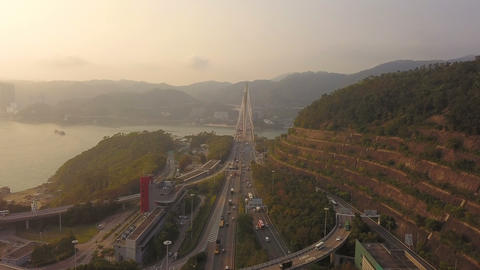 Aerial view of Ting Kau Bridge. Highways in Hong kong with structure of suspension architecture in Footage