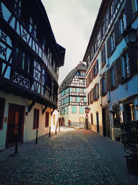 Strasbourg narrow streets of the old city with idyllic half timb Photo
