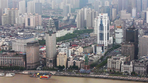 View of historic architecture of the Bund , facing the Huangpu river , Shanghai Footage