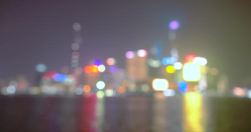 Abstract view of Shanghai city light glowing in night, view from the Bund Live Action