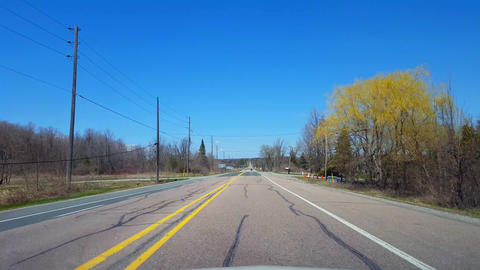 Driving Rural Countryside During Spring Day. Driver Point... Stock Video Footage
