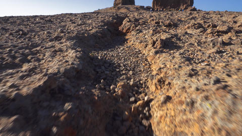 Roque Nublo mountain in Gran Canaria, Canary Islands on a blue sunny day Footage