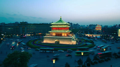 XI 'AN, CHINA - April 12, 2013: Time lapse of Xi'an Bell Tower ,day to night Footage