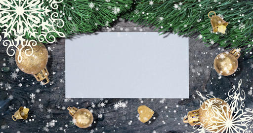 Christmas background with fir branches, snowflakes and golden balls on rustic Animation