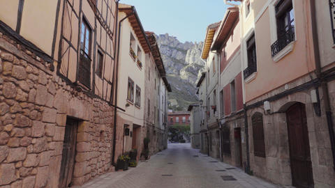 POV, walking in medieval village of Pancorbo, Burgos, Spain. First person point Live Action