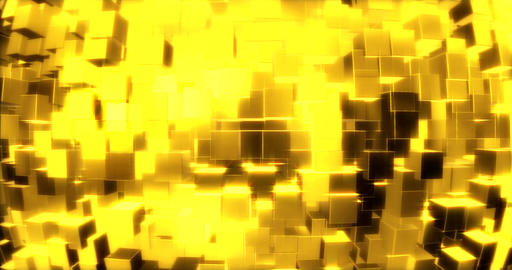 Abstract graphics background with golden cubes on a sphere. 3d rendering Animation