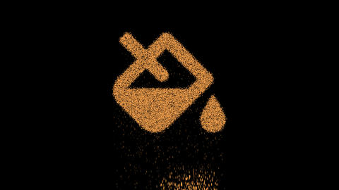 Symbol fill drip appears from crumbling sand. Then crumbles down. Alpha channel Premultiplied - Animation