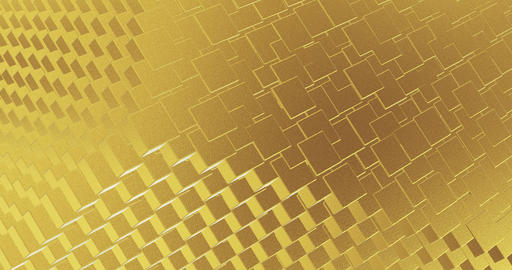 Abstract geometric golden backgroundfoil tiles texture seamless loop background 3D rendering Animation