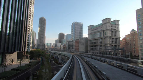 Japan city scenery. City traffic, business district, driving video ビデオ