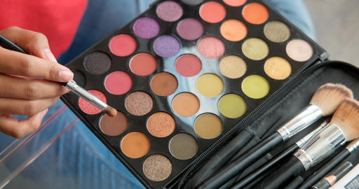 Close-up Of Woman Girl Female Make-up Tools Beauty Brushes Footage