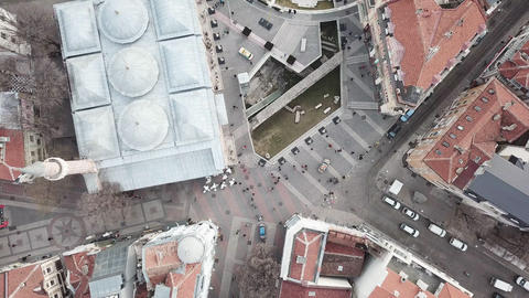 Aerial downtown cityscape of Plovdiv top-view - European Capital of Culture 2019 ancient Bulgarian Footage
