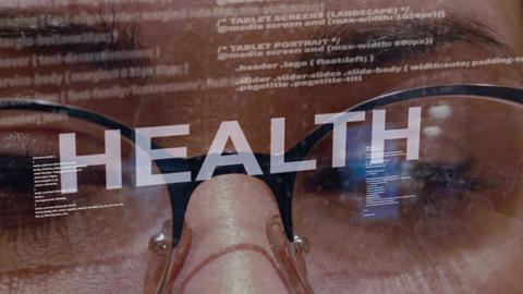 Health text on background of female developer Footage
