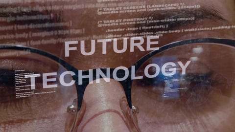 Future technology text on background of female developer Live Action