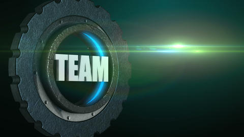 Word team in rotating gear wheel with flare, teamwork business concept Animation