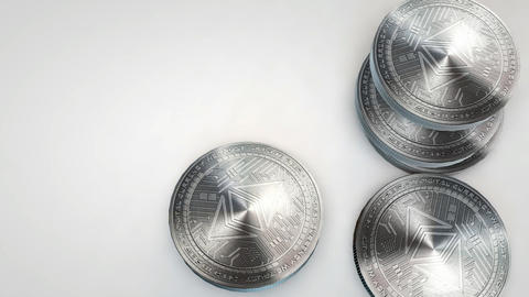 silver ethereum classic coins falling on white background Animation