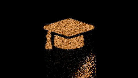 Symbol graduation cap appears from crumbling sand. Then crumbles down. Alpha channel Premultiplied - Animation