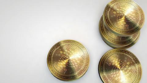 golden iota coins falling on white background Animation
