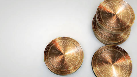 copper eos coins falling on white background Animation
