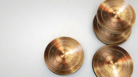 copper komodo coins falling on white background Animation