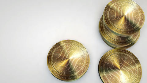 golden steem coins falling on white background Animation