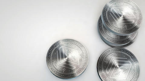 silver stratis coins falling on white background Animation