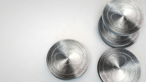 silver status coins falling on white background Animation