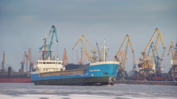 Bulk carrier entering port of Riga during winter Footage