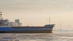 Bulk carrier entering port of Riga during winter Footage