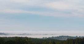 Timelapse of thick fog flowing over a forest covered valley Footage