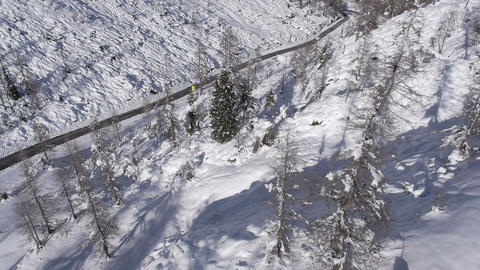 Aerial - Steep mountain terrain with spruce trees. Car driving on a plowed road Live Action