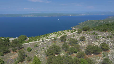 Aerial - Flying above the hill of Adriatic coast Footage