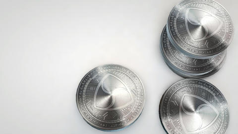 silver nem coins falling on white background Animation