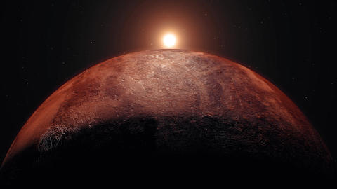 Mars planet, sunrise on space. Realistic The red planet and sunlight Animation